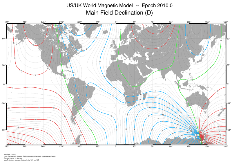Magnetic Field Declination By NOAA National Geophysical Data Center