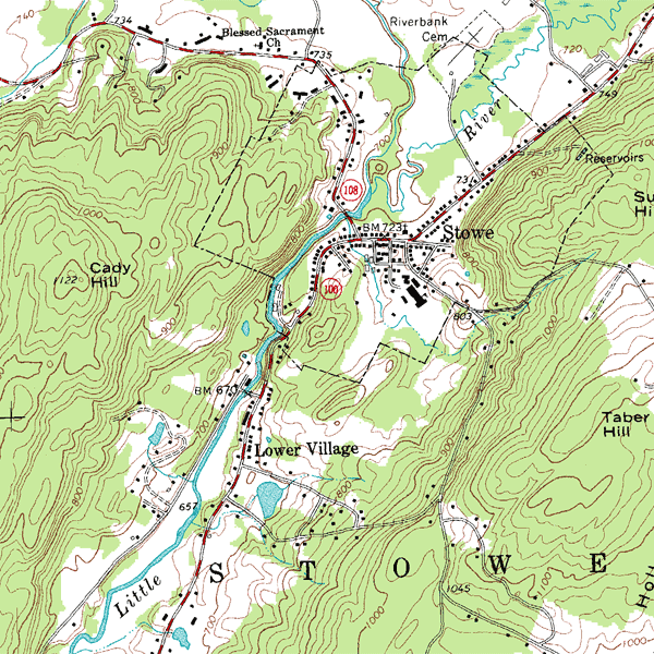 Topographical Map Stowe Vt