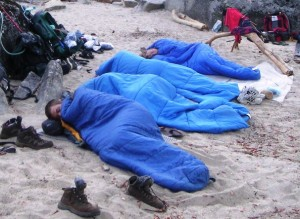 Sleeping on Sand Beach