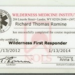 WMI Wilderness First Responder Certification Card