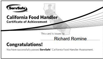 Food Handler Cert Card